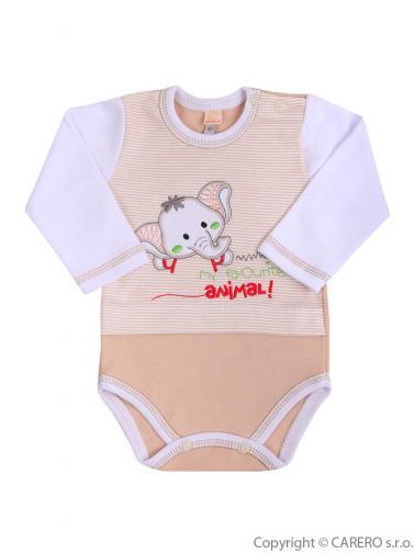Hnědo-bílé kojenecké body s dlouhým rukávem vel. 80 Koala Oli