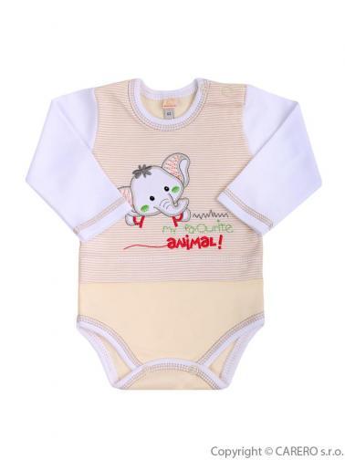 Béžovo-bílé kojenecké body s dlouhým rukávem vel. 80 Koala Oli