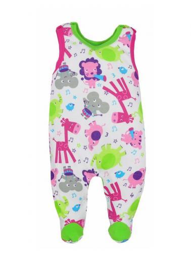 Kojenecké dupačky Bobas Fashion Zoo zelené pro holky Zelená 80 (9-12m)