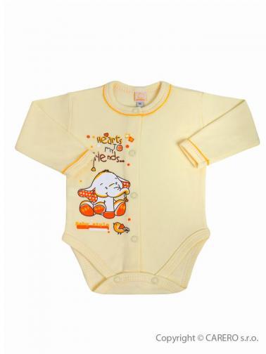Béžové kojenecké body s dlouhým rukávem vel. 68 Bobas Fashion Benjamin