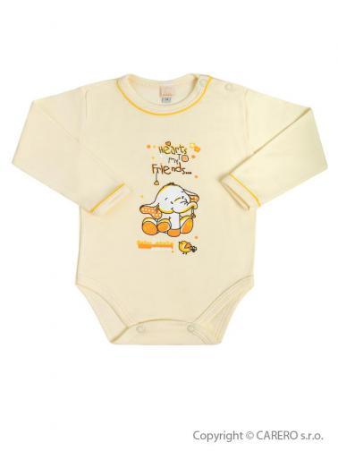 Béžové kojenecké body s dlouhým rukávem vel. 86 Bobas Fashion Benjamin