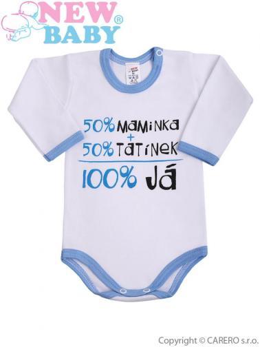 Body s dlouhým rukávem vel. 86 s českým nápisem New Baby modré