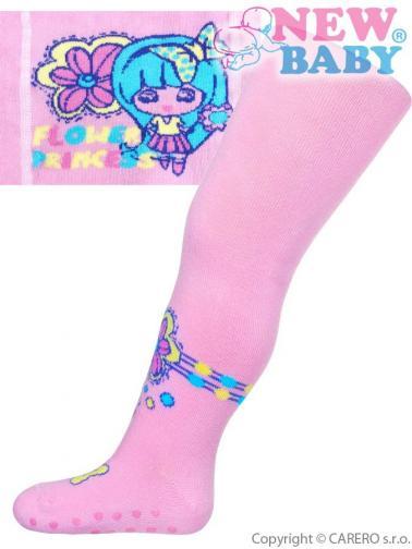 Bavlněné punčocháčky New Baby s ABS světle růžové flower princess Světle růžová 104 (3-4r)