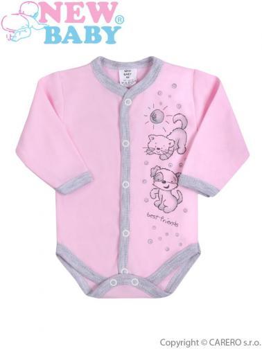 Kojenecké body s dlouhým rukávem vel. 56 New Baby Kamarádi růžové