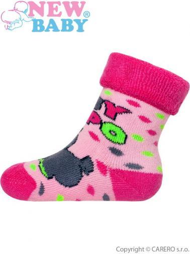 Dětské froté ponožky New Baby růžové s hrochem Růžová 74 (6-9m)