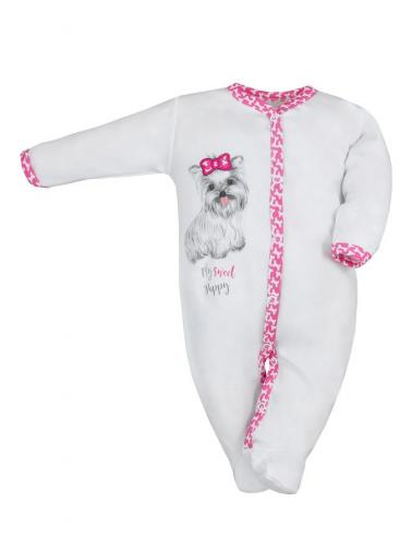 Kojenecký bavlněný overal Koala Cool Dog bílo-růžový Bílá 68 (4-6m)