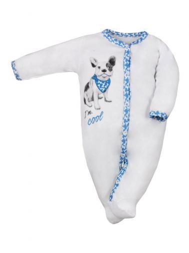 Kojenecký bavlněný overal Koala Cool Dog bílo-modrý Bílá 68 (4-6m)