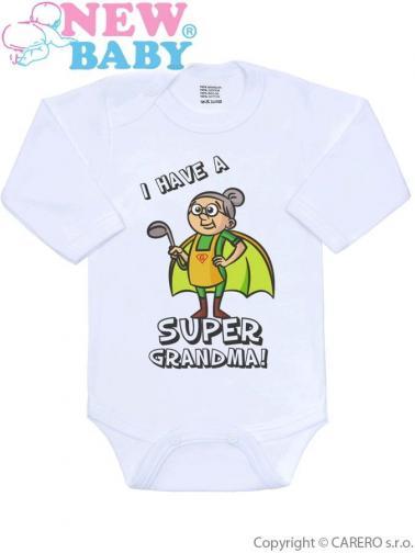 Body s potiskem New Baby SUPER FAMILY, SUPER GRANDMA Zelená 80 (9-12m)