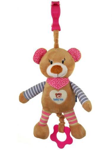 Dětská plyšová hračka s hracím strojkem Baby Mix Medvídek růžový Růžová
