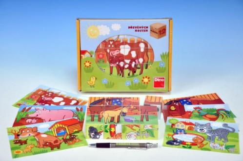 Kostky kubus Domácí zvířátka dřevo 12ks v krabičce