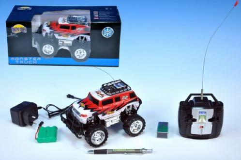 Auto RC Monster Truck 16cm na vysílačku na baterie s dobíjecím packem + adaptérem v krabici