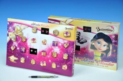 Adventní kalendář Briliantina sběratelské náušnice 24ks v krabici 34x24x3cm