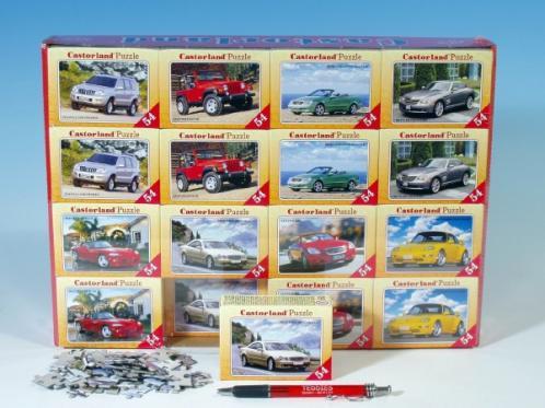 Minipuzzle Auta 16,5x11cm asst 8 druhů 54 dílků