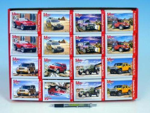 Minipuzzle Auta Jeep 16,5x11cm asst 8 druhů 54 dílků v krabičce
