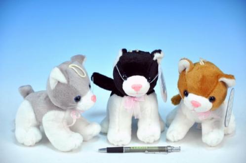 Kočka plyš 13cm s mašlí na baterie se zvukem asst 3 druhy