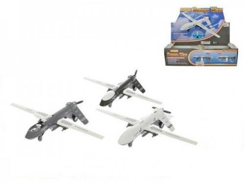 Letadlo 20,5cm skládací křídla kov zpětný chod na baterie se světlem a zvukem asst 3barvy