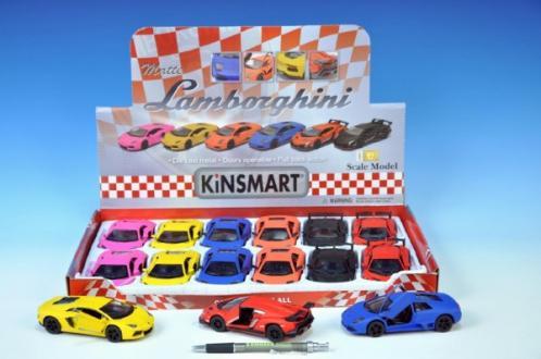 Auto Kinsmart Lamborghini kov 13cm matný lak na zpětné natažení asst 3 druhy 6 barev