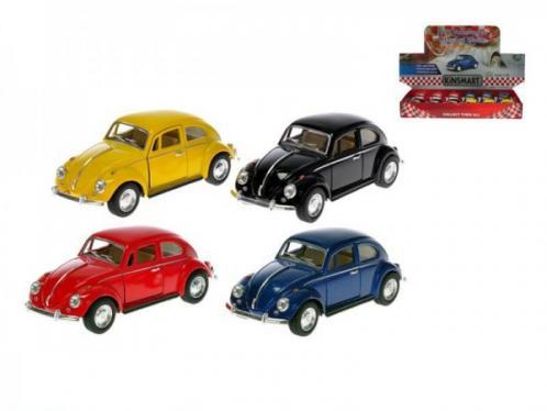 Auto Kinsmart Classical Beetle 1:32 kov 13cm zpětný chod asst 4 barvy