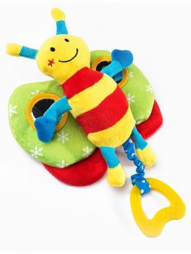 Edukační plyšová hračka Sensillo motýlek s pískátkem Žlutá