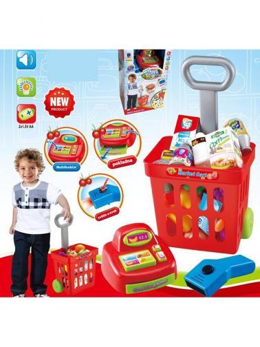 Dětský nákupní košík s příslušenstvím Bayo 24 ks Červená