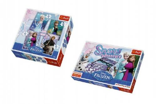 PACK Hra Sněhové dobrodružství Ledové království/Frozen + Puzzle 4v1 20,5x28,5cm mix druhů