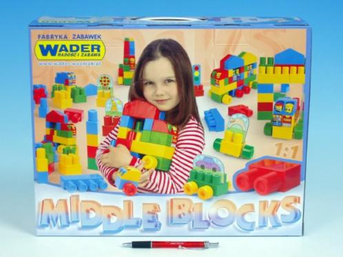 Kostky stavebnice Middle Blocks sada Big plast 75ks v krabici 40x30x15cm 12m+ Wader