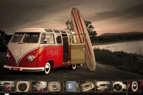 Posters Plakát, Obraz - VW Volkswagen Kombi - surfboard, (91,5 x 61 cm)