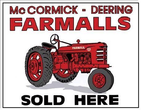 Posters Plechová cedule FARMALLS SOLD HERE - traktor, (40 x 31,5 cm)