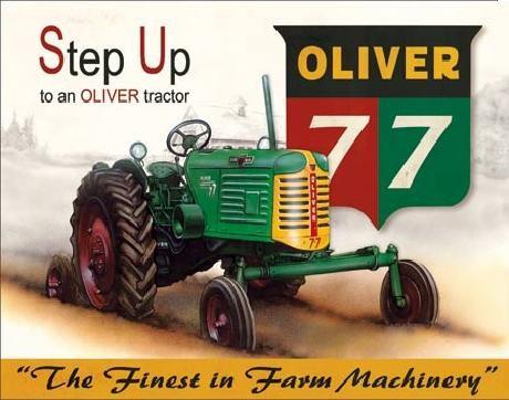Posters Plechová cedule OLIVER - 77 traktor, (40 x 31,5 cm)