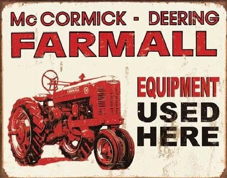 Posters Plechová cedule FARMALL - equip used here, (41 x 32 cm)