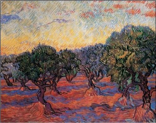 Posters Obraz, Reprodukce - Olivovníkový sad: Oranžové nebe, 1889, Vincent van Gogh, (24 x 23 cm)