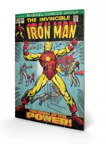 Posters Dřevěný obraz Iron Man - Birth Of Power, (40 x 59 cm)