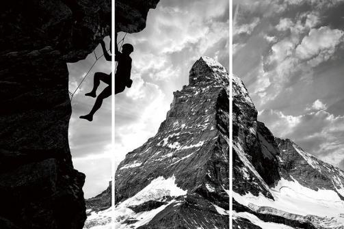 Posters Skleněný Obraz Buď odvážný - Vylez na horu, (160 x 240 cm)
