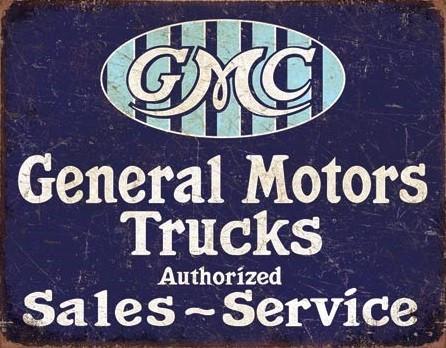 Posters Plechová cedule GMC Trucks - Authorized, (40 x 31,5 cm)