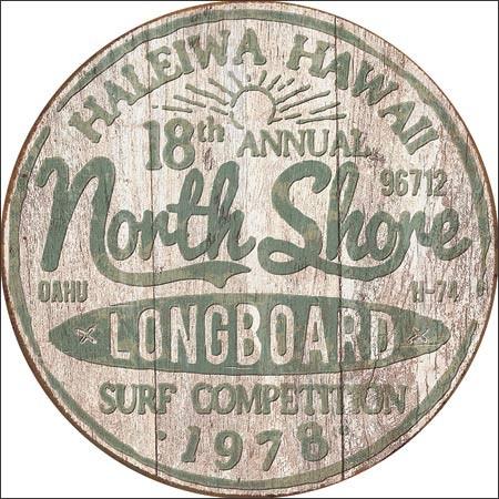 Posters Plechová cedule North Shore Surf, (30 x 30 cm)