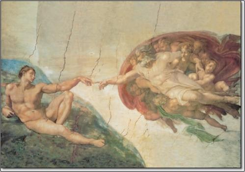Posters Obraz, Reprodukce - Zrození Adama, Michelangelo Buonarroti, (140 x 70 cm)