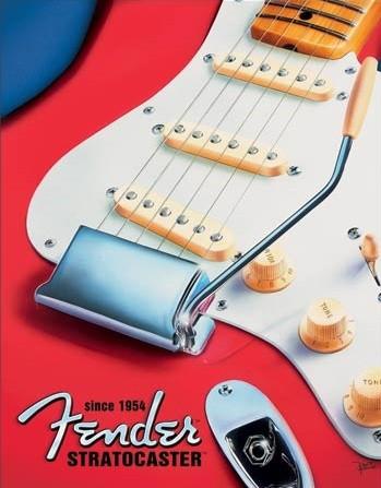 Posters Plechová cedule Fender - Built to Inspire, (31,8 x 40,6 cm)