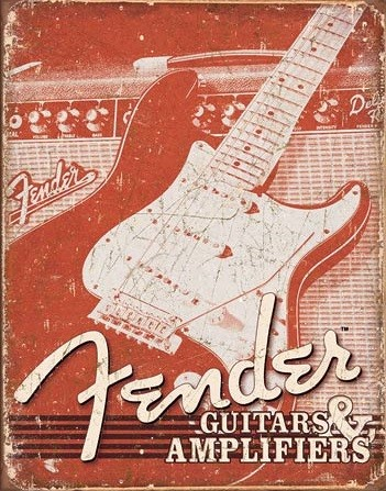 Posters Plechová cedule Fender - Weathered G&A, (31,8 x 40,6 cm)