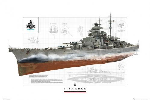 Posters Plakát, Obraz - World Of Warships - Bismark, (91,5 x 61 cm)