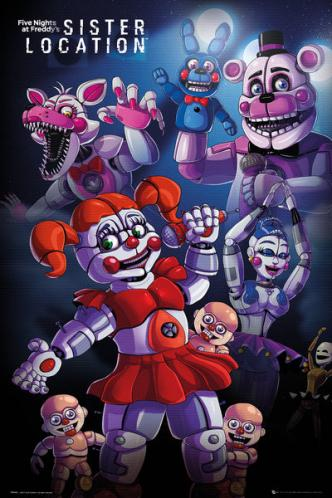 Posters Plakát, Obraz - Five Nights At Freddys's - Sister Location Group, (61 x 91,5 cm)