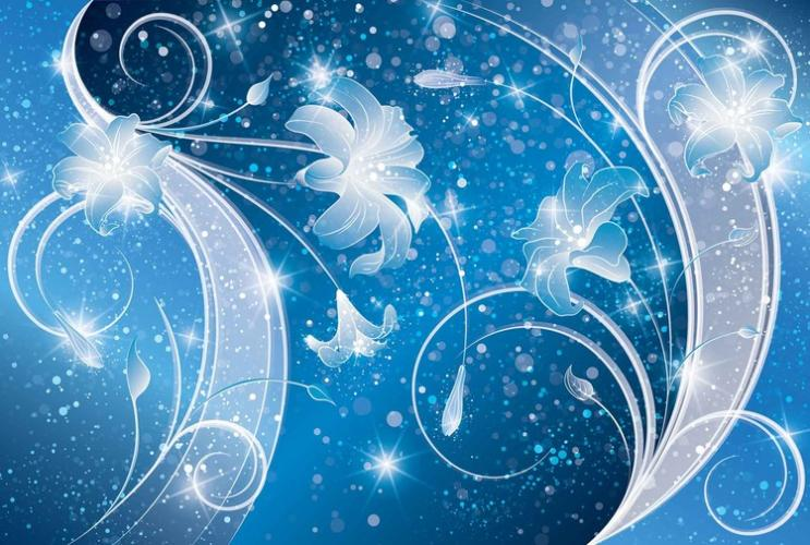 Posters Fototapeta, Tapeta Abstraktní umění, modré kvěětiny, (368 x 254 cm)