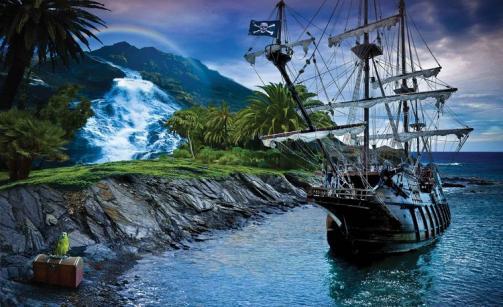 Posters Fototapeta, Tapeta Pirátská loď, (368 x 254 cm)