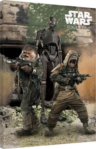 Posters Obraz na plátně Rogue One: Star Wars Story - Pao, Bistan & K-2S0, (60 x 80 cm)
