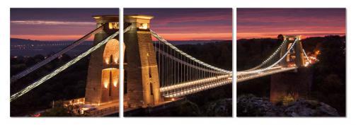 Posters Obraz na zeď - Noční panorama s mostem, (120 x 40 cm)