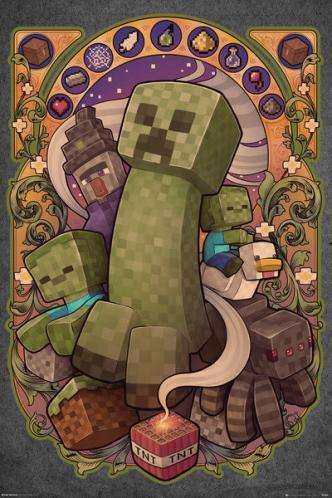 Posters Plakát, Obraz - Minecraft - Creeper Nouveau, (61 x 91,5 cm)