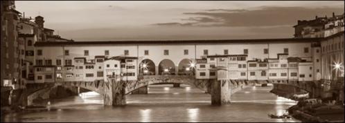 Posters Obraz, Reprodukce - Firenze Ponte Vecchio misure e supporti su, (100 x 35 cm)