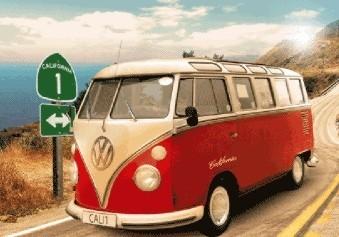 Posters Californian Camper - route 3D Plakát, 3D Obraz, (67 x 47 cm)