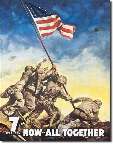 Posters Plechová cedule WAR BONDS - iwojima, (32 x 41 cm)