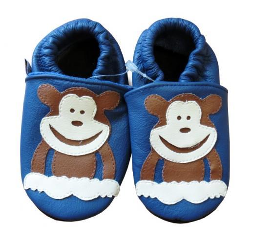 Afelo Chlapecké kožené capáčky Opička - modré