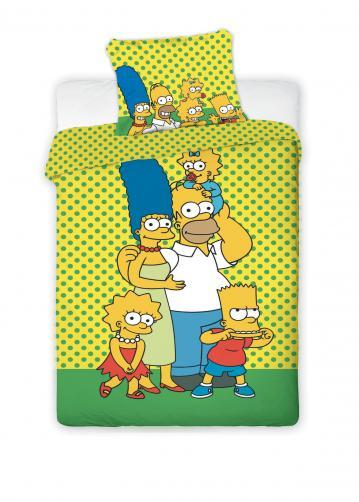 Jerry Fabrics UKONČENO-Dětské oboustranné povlečení The Simpsons, 140x200 cm/70x90 cm - žluté